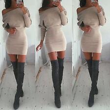 Women's Off Shoulder Long Sleeve Bandage Bodycon Slim Short Mini Sweater Dress