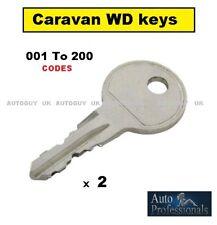 2 CARAVAN KEYS CUT TO CODE  WD001 TO WD200  ACE,AVONDALE,BAILEY,ELDDIS,SWIFT