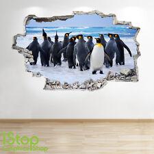 PENGUIN WALL STICKER 3D LOOK - OCEAN SEA PORTHOLE BEACH BEDROOM LOUNGE Z170