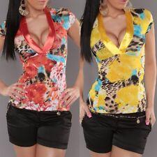 SEXY MISS Femmes TRENDY Satin V Shirt Girl Chemisier Top 34 36 38 40 Léopard Coloré Neuf