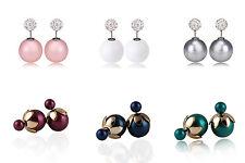 Purple Blue Turquoise White Pink Double Balls Pearl Shamballa Stud Earrings
