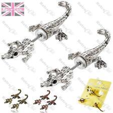 CROCODILE lizard FAKE EAR TUNNELS animal EARRINGS silver/vintage brass/bronze