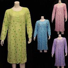 New Ladies Floral Print Emboidered Full Sleeve Nightie Night Dress Cotton Nighty