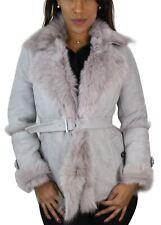 Women Ladies Grey Toscana Sheepskin Trench Coat Jacket