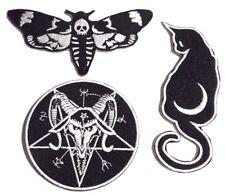 Ocultismo Parche con Plancha Deathshead Polilla Gato Luna Baphomet Devil