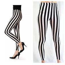 Super High Waist Leggings Women's Black & White Stripe Legging Girls Pants