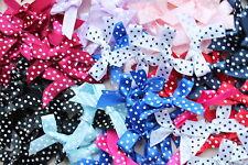 Polka Dot 7mm Satin Ribbon Bows - Wedding - Pink, Blue, Lilac, Red & More