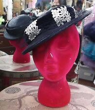 Gibson Girl mts 40s TILT toy topper vintage 40s straw floral rhinestone hat vlv