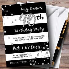 Negro Blanco Plata Confeti 40th Personalizado Invitaciones Fiesta De Cumpleaños