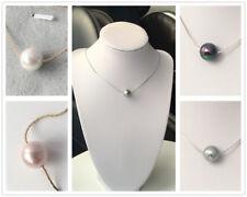 AAA Qualität Perlen Halskette mit Anhänger (Rosa/Weiß/Schwarz/Silber),12mm