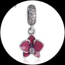 Purple Orchid Enamel Flower Pendant Charm Genuine  925 Sterling  Silver