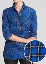4b1bec8e NEW NWT Womens GAP Blue Plaid Popover Boyfriend Fit Button Up Blouse Shirt  *F9