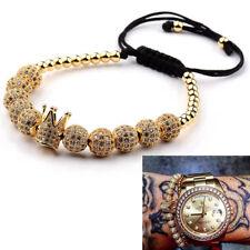 10 Pieces Balls 4MM Copper Beads Charm Crown CZ Braided Macrame Men Bracelets