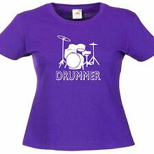 Drummer Drum kit Ladies Womens Band Lady Fit T Shirt