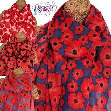 Poppy Sciarpa donna sciarpa con grandi papaveri Design superba qualità morbida