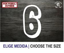 Numero 6 (NC) Number Vinilo Sticker Vinyl Decal Autocollant Adesivi Dorsal