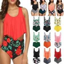 Women's Swimwear High Waisted Tummy Control Bikini Tankini Set Swimsuit UK Sizes