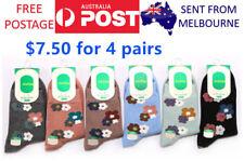 4Prs Women Socks Flowers Beautiful Lovely Colourful Premium Cotton Free Postage