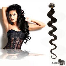 #1b Schwarzbraun Keratin Bonding GEWELLT Hair Extensions 100% Remy Echthaar 1g