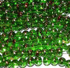 """G2280t Dark Green 6mm Round Metallic Drawbench Swirl Glass Beads 32"""""""