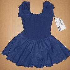 NWT CAP SLEEVE BALLET DRESS MATTE SPANDEX FULL SKIRT NAVY BLUE