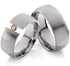 2 Eheringe Trauringe mit echtem Diamant Verlobungsringe aus Edelstahl ELB11