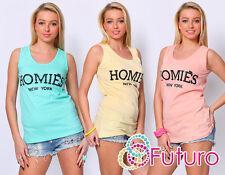 donne Casual Canotta Homies smanicata con disegni T-shirt cotone taglie UK 8-14