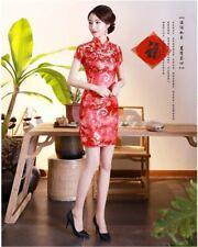 New Luxurious Red Satin Chinese Floral Short Dress Cheongsam Qipao lcdress82