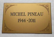 plaque gravée Funéraire 2 à 4 lignes + enjolivures  format  170x115 mm