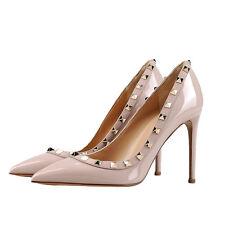 MERUMOTE Women's 10cm Pointed Toe Studs Rivets Stilettos High Heels Pumps Black