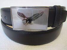 New Men's Casual Dress Leather Black Belt Grey Fashion Buckle Flying Eagle Logo