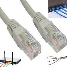 RETE Ethernet RJ45 Cavo LAN Autentico Patch CAT 5e PIOMBO 0.50m a 30m GRIGIO LOTTO