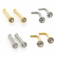 2 Stud Gold Tone 316L Surgical Steel CZ Gems Septum L Bend Nose Ring 18-20 gauge