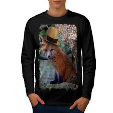 Gorro Fox Cool Animal Divertido Hombre Manga Larga wellcoda Camiseta Nuevo  