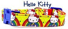 "Hello Kitty dog collar handmade adjustable buckle collar 5/8"" wide or leash"