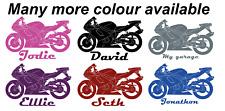 Personalised Motorbike Sports bike Vinyl Wall Decal Sticker Name and