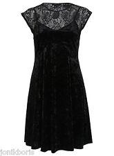 SEXY 2 PIECE SET BLACK CRUSHED VELVET PINAFORE CAMI VELOUR DRESS LACE TOP 10 S