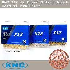 KMC X12 12 Speed Silver Black Gold Ti MTB Chain 126 Links fit SRAM 1 or 2 Packs