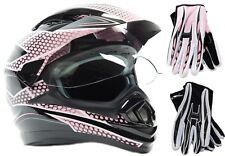 Dual Sport Pink Helmet Motorcycle Motocross Combo Dirt Bike Adult DOT OffRoad