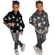 Girl Knit Poncho Roll Neck Star Stole Children's Winter Shawl Collar