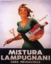 POSTER MISTURA LAMPUGNANI TONIC SPRING HEALTH GLOW ITALY VINTAGE REPRO FREE S/H