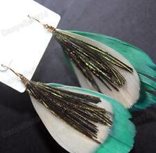 Aqua Verde Mare Grandi Orecchini Piuma Blu Marrone Pavone Uccello Vintage Oro Pltd