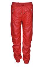 Señoras Pantalones Jogging Inferior verdadero Nappa Cuero Sudor Pantalones de pista Cremallera Rojo