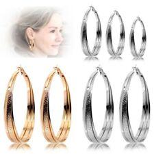 2 Ear Hoops Classic Creole Piercing Huggie Hoop Rings Snap Women Golden Silvern