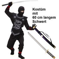 EDLES NINJA Ninjago Kinder Kostüm mit Schwert schwarz - Jungen Karneval Fasching