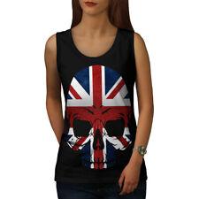 Bandera De Metal Calavera Muerte Reino Unido mujeres Camiseta sin mangas Nuevo   wellcoda