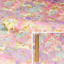PURPLE PINK Meter/Fat Quarter/FQ/Square Cotton Fabric Unicorn Fantasy Milky Way