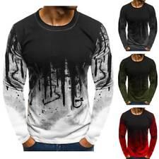 Men's Slim Fit Crew Neck Print Long Sleeve Muscle Tee T-shirt Tops Blouse AF