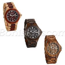 Men's Luxury Wood Watch Ecowatch Quartz Analog Wrist Watches With Date Display