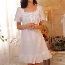 Womens White Sleepwear Lolita Dress Nightgown Cotton Pajama Vintage Retro Style